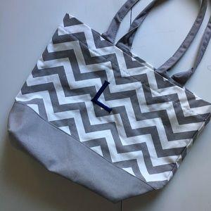 Handbags - Gray & White Chevron Beach Bag Tote Personalized L